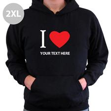 Hoodie I LOVE YOU Baumwolle mit Herz Schwarz 2XL Personalisiert