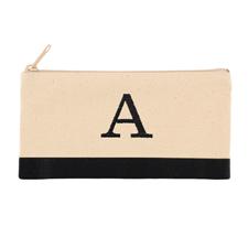 Bestickte Kosmetiktasche schwarz /  2-farbig Ihr Buchstabe auf einer Seite