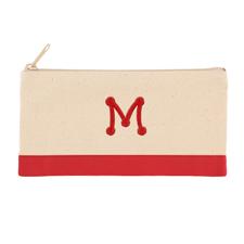 Bestickte Kosmetiktasche rot /  2-farbig Ihr Buchstabe auf einer Seite