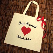 Rotes Herz Frisch Verheiratet Stofftasche Personalisieren
