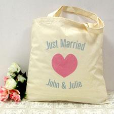 Pinkes Herz Frisch Verheiratet Stofftasche Personalisieren