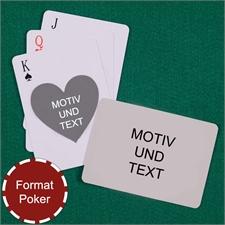 Spielkarten mit anpassbarer Vorder- und Rückseite quer in Herzformstil