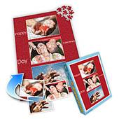 Drei-Fotos-Collage-Puzzle in klassischem Rot, frohen Valentinstag, Portrait