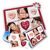 Individuelles Sechs-Bilder-Collage-Puzzle in klassischem Rot - Ich liebe Dich