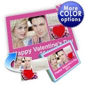 Individuelles Drei-Fotos-Collage-Puzzle in knalligem Pink - frohen Valentinstag