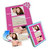 Individuelles Drei-Fotos-Collage-Puzzle in knalligem Pink, frohen Valentinstag