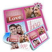 Individuelles Vier-Bilder-Collagepuzzle in knalligem Pink zum Valentin