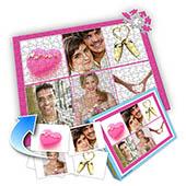 Individuelles Sechs-Fotos-Collage-Puzzle in knalligem Pink - romantische Liebe