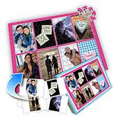 Individuelles grosses Acht-Fotos-Collage-Puzzle in knalligem Pink - von der Romanze geküsst