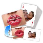Individualisierte Vorder- und Rückseite Querformat Herzform-Spielkarten, Valentinstag