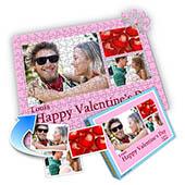 Drei-Fotos-Collage-Puzzle in Babyrosa - frohen Valentinstag