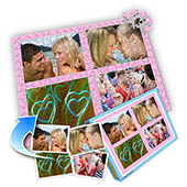 Individuelles Vier-Bilder-Collage-Puzzle in Babyrosa - Ich liebe Dich