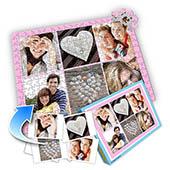 Individuelles Sechs-Bilder-Collage-Puzzle in Babyrosa - romantische Liebe