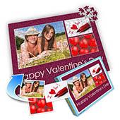 Drei-Fotos-Collage-Puzzle in Tyrianpurpur - frohen Valentinstag
