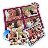 Individuelles Vier-Bilder-Collage-Puzzle in Tyrianpurpur - frohen Valentinstag