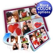 Individuelles Sechs-Bilder-Collage-Puzzle in Tyrianpurpur - frohen Valentinstag