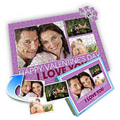 Drei-Fotos-Collage-Puzzle in Babypurpur - frohen Valentinstag