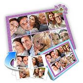 Individuelles Sechs-Bilder-Collage-Puzzle in Babypurpur - romantische Liebe