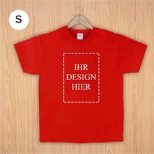 Größe S, T-Shirt, Rot, Hochformat, Personalisiert 100% Baumwolle