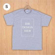 Größe S, T-Shirt, Grau, Hochformat, Personalisiert 100% Baumwolle