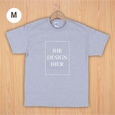Größe M T-Shirt Grau Hochformat Personalisiert 100% Baumwolle