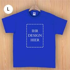 Größe L T-Shirt Blau Hochformat Personalisiert 100% Baumwolle