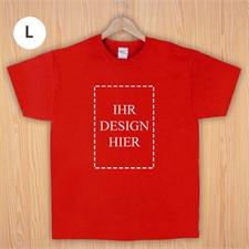 Größe L T-Shirt Rot Hochformat Personalisiert 100% Baumwolle