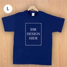 Größe L T-Shirt Navy Dunkelblau Hochformat Personalisiert 100% Baumwolle