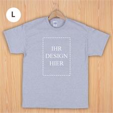 Größe L T-Shirt Grau Hochformat Personalisiert 100% Baumwolle