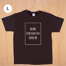 Größe L T-Shirt Braun Hochformat Personalisiert 100% Baumwolle