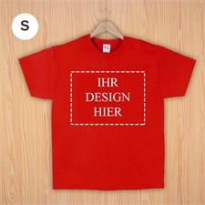 Größe S, T-Shirt, Rot, Querformat, Personalisiert 100% Baumwolle