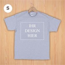 Größe S, T-Shirt, Grau Querformat, Personalisiert 100% Baumwolle