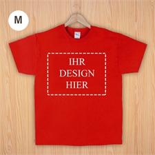 Größe M, T-Shirt, Rot, Querformat, Personalisiert 100% Baumwolle
