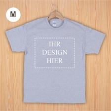Größe M, T-Shirt, Grau, Querformat, Personalisiert 100% Baumwolle