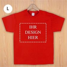 Größe L, T-Shirt, Rot, Querformat, Personalisiert 100% Baumwolle