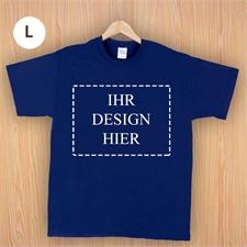Größe L, T-Shirt, Navy, Dunkelblau, Querformat, Personalisiert 100% Baumwolle