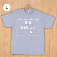 Größe L, T-Shirt, Grau, Querformat, Personalisiert 100% Baumwolle