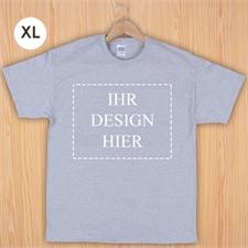 Größe XL, T-Shirt, Grau, Querformat, Personalisiert 100% Baumwolle
