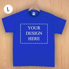 Größe L T-Shirt Blau 4er Collage, Querformat, Personalisierte Baumwolle