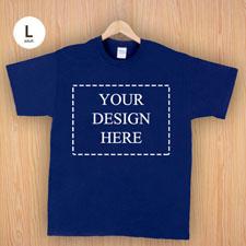 Größe L T-Shirt Navy Dunkelblau 4er Collage, Querformat, Personalisierte Baumwolle