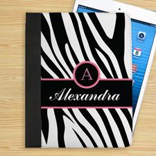 Schwarzes Zebramuster iPad Folio Case Luxus Personalisieren