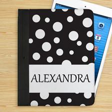 Schwarz Name und Pünktchen iPad Folio Case Personalisieren