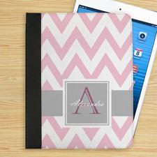 Grau und Pink Zacken Personalisiertes Monogramm iPad Case