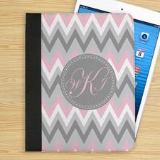 Monogramm Pink Weiß Grau Zickzack iPad Case Personalisieren