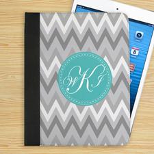 Monogramm Weiß Grau Zickzack iPad Case Personalisieren