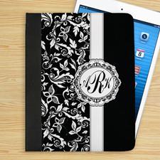 Monogramm Schwarzer Damast iPad Folio Case Personalisieren