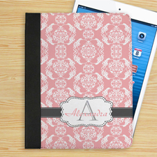 Elegantes Monogramm Pink und Grau iPad Folio Case