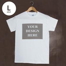 T-Shirt Weiß Baumwolle Mein Text Mein Bild Größe L für Erwachsene