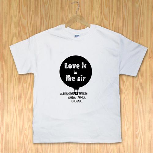 Liebe im Ballon Weiß Kleine Größe S T-Shirt Baumwolle Querformat Gestalten
