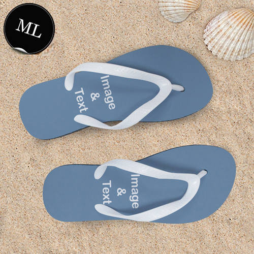 Personalisierte Strandsandalen Herren Größe L 44-45 EIN BILD Weiß